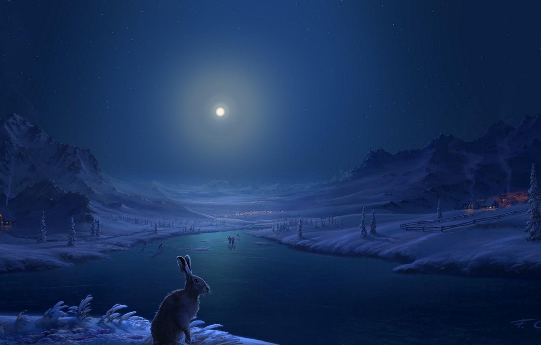 Фото обои зима, снег, горы, река, люди, заяц, дома, Луна, деревня, арт, лунный свет, Fel-X