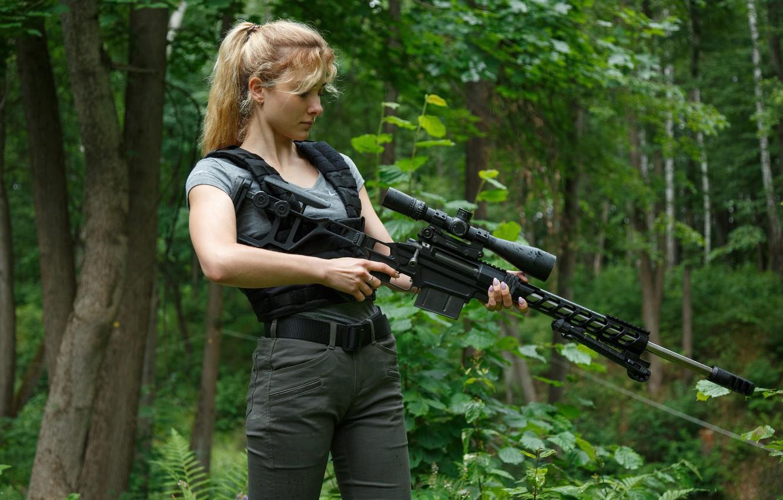 Фото обои Девушка, Снайперская винтовка Лобаева, ТСВЛ-8 «СТАЛИНГРАД»