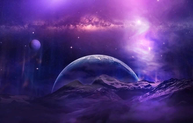 Фото обои space, universe, aurora, sky, mountains, clouds, stars, planet, purple, galaxy