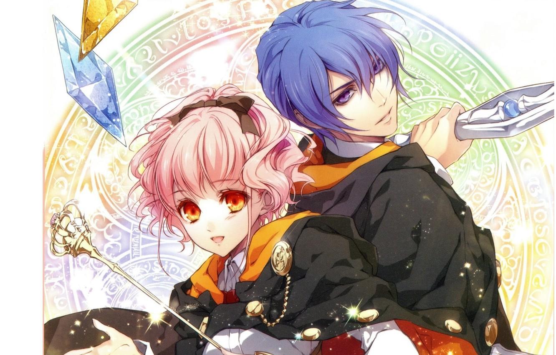 Фото обои кристаллы, плащ, синие волосы, розовые волосы, wand of fortune, lulu, спина к спине, visual novel, …