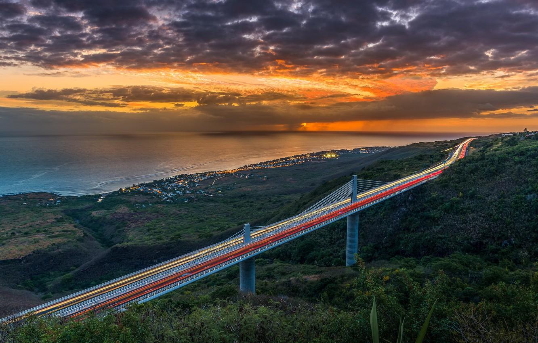 Фото обои Bridge, Sunset, Reunion Island, Indian-Ocean
