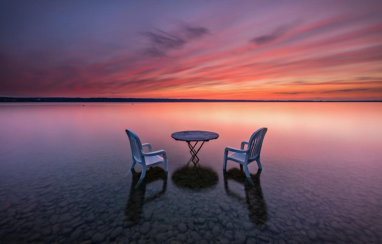 Фото обои закат, стол, берег, стул