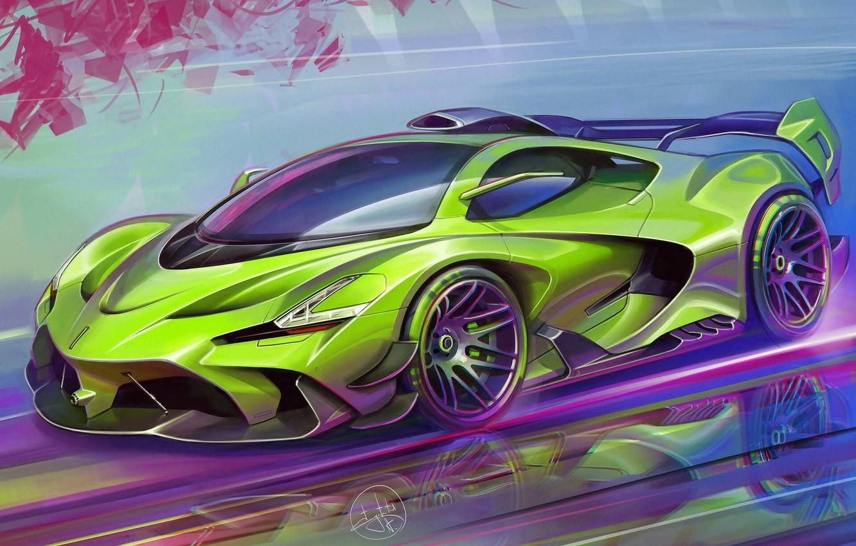 Фото обои Car, Art, Race car, Sketch, Aleksandr Sidelnikov, Transport & Vehicles