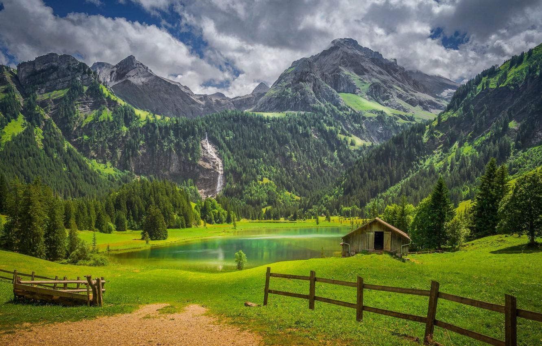 Фото обои лес, горы, озеро, забор, Швейцария, сарай, Switzerland, Bernese Alps, Бернские Альпы, Gstaad, Гштад