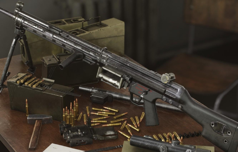 Фото обои рендеринг, оружие, weapon, render, пулемёт, machine gun, 3d Art, HK 23, Hecler und Koch
