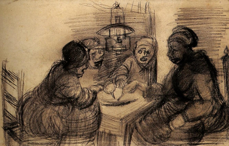 Фото обои Винсент ван Гог, Sharing a Meal, Four People