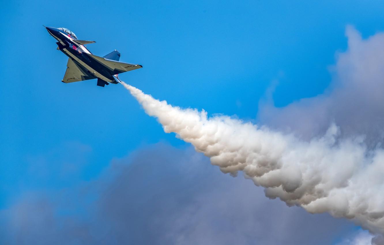 Фото обои Облака, Дым, Истребитель, Пилотажная группа, Chengdu J-10, ВВС КНР, August 1st aerobatic team, Changchun Airshow …