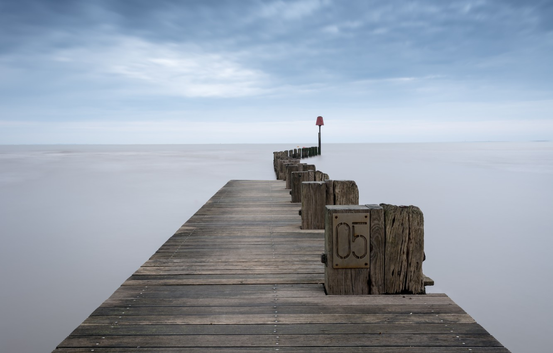 Фото обои море, мост, туман