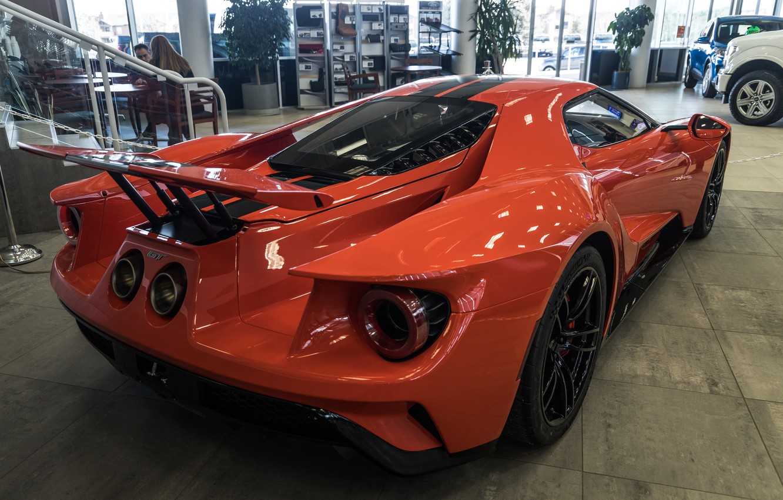 Фото обои оранжевый, Ford GT, спорткар, вид сзади, 2020 Ford GT