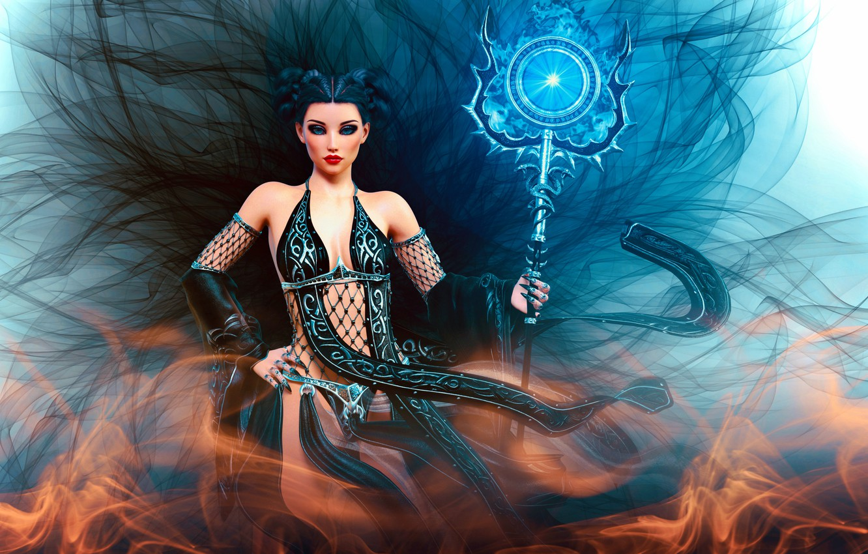 Фото обои girl, fantasy girl, trident, godess, sorceres