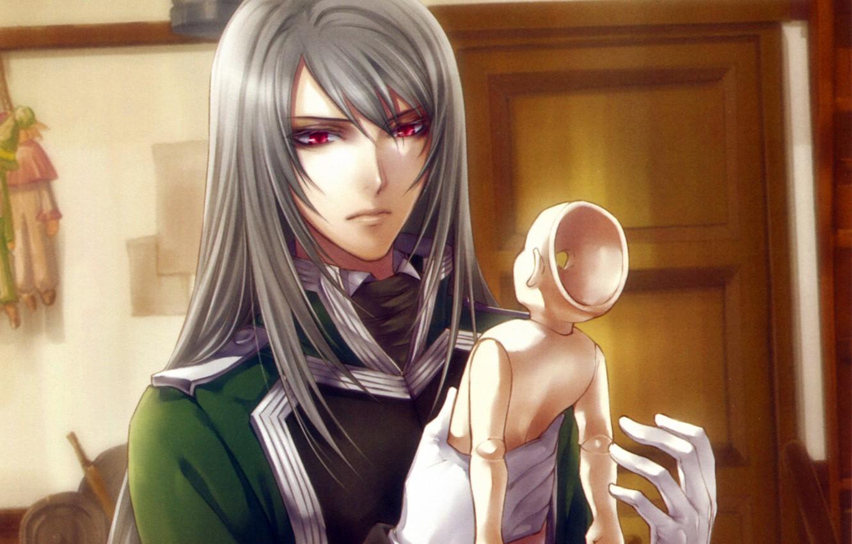Фото обои перчатки, красные глаза, марионетка, visual novel, will o`wisp, ignis, длинные белые волосы, by kagerou usuba