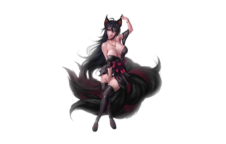 Фото обои Girl, Fantasy, Kawaii, Beautiful, Sexy, Art, Style, Minimalism, Characters, Figure, Tail, Kitsune, Furry, GvArt GV