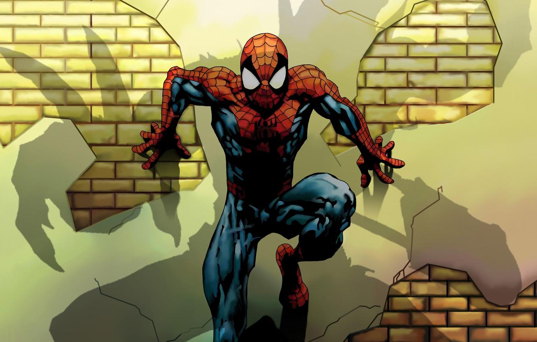 Фото обои Marvel, Shadow, Comics, Spider Man, Green Goblin