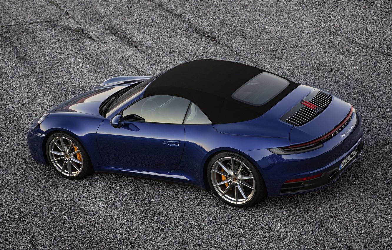 Фото обои синий, 911, Porsche, кабриолет, Cabriolet, Carrera 4S, 992, мягкий верх, 2019
