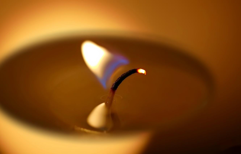Фото обои макро, огонь, свеча