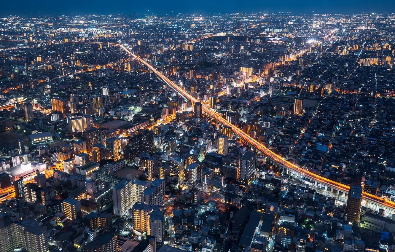 Фото обои ночь, город, Osaka