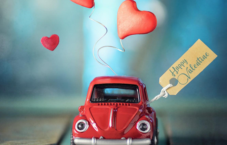 Фото обои игрушка, доски, сердечки, машинка