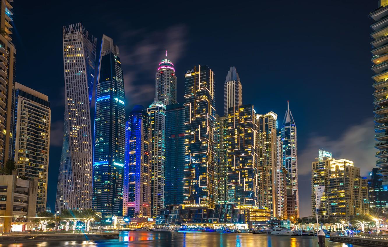 Фото обои здания, дома, Дубай, ночной город, Dubai, небоскрёбы, гавань, ОАЭ, UAE, Дубай Марина, Dubai Marina