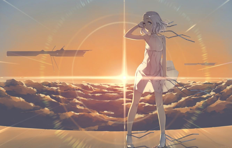 Фото обои девушка, закат, ветер