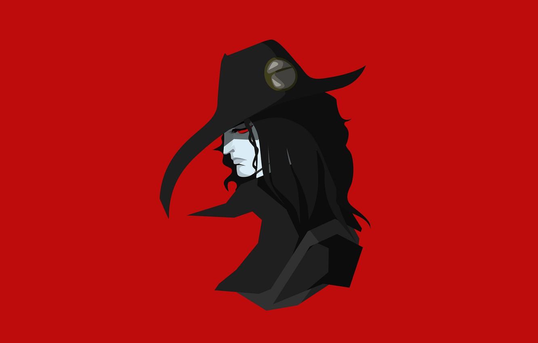 Фото обои фон, минимализм, шляпа, вампир