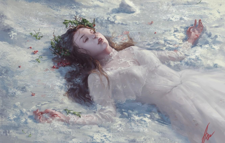 Фото обои девушка, снег, фэнтези, арт, Aliona Jour, Avalanches