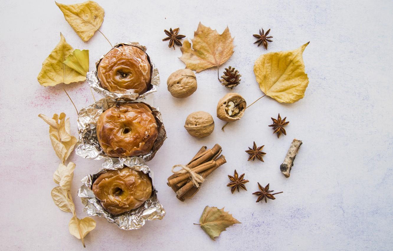 Фото обои яблоки, еда, орехи, корица, десерт, выпечка, apples, анис звёздчатый, Baked