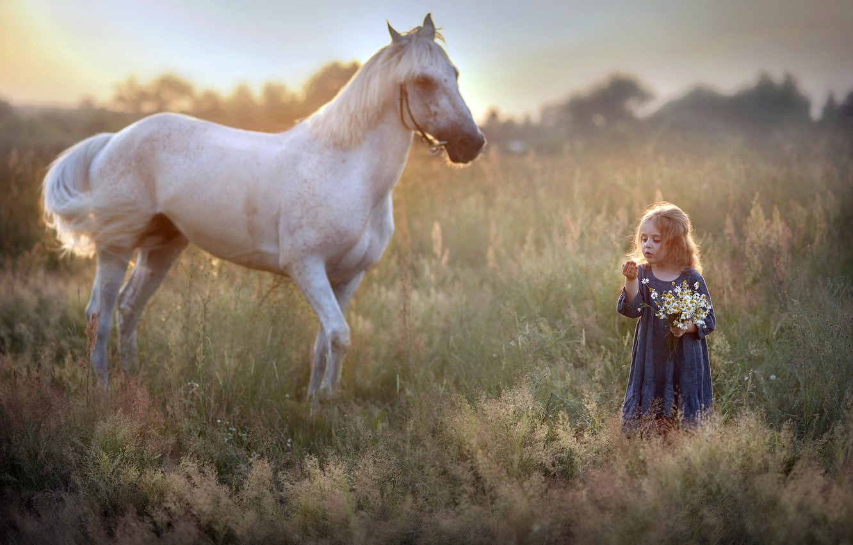 Фото обои природа, конь, девочка