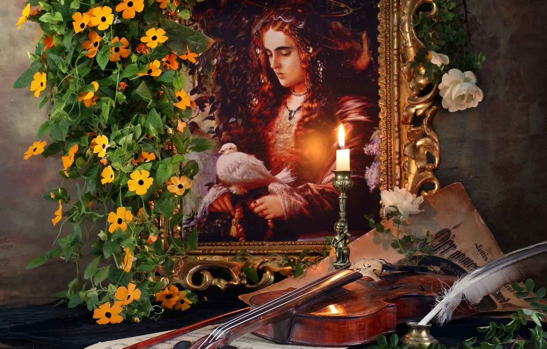 Фото обои цветы, ноты, перо, скрипка, свеча, картина, Андрей Морозов