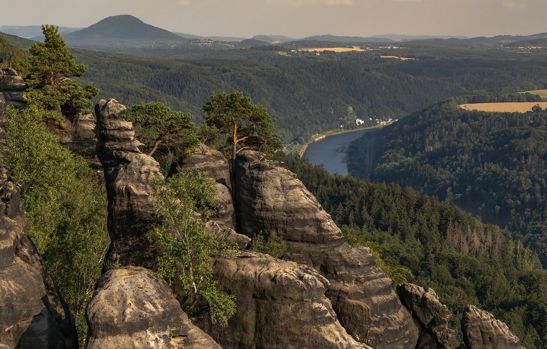 Фото обои деревья, пейзаж, горы, природа, река, скалы, Эльба, леса, Ralf Kaiser