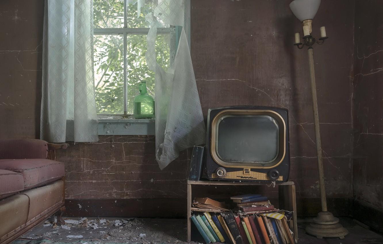 Фото обои комната, телевизор, окно