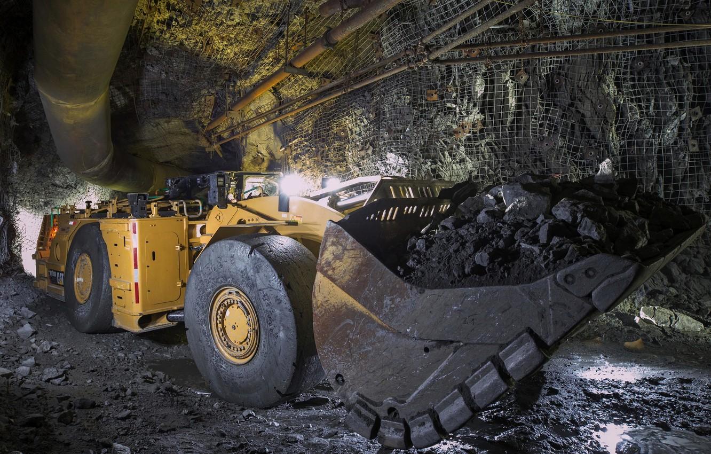 Фото обои тоннель, порода, ковш, Caterpillar, погрузчик, R1700G
