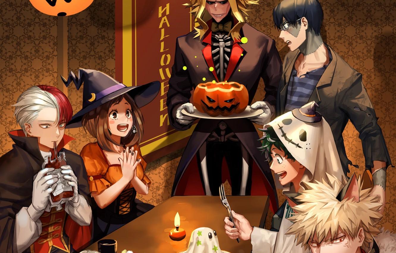 Фото обои застолье, костюмы, хеллоуин, My Hero Academia, Boku No Hero Academia, Моя Геройская Академия