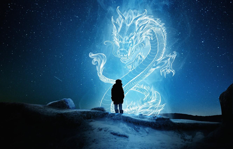Фото обои снег, магия, дракон, magic, snow, vision, dragon, явление, звездная ночь, phenomenon, видение, одинокая фигура, starry …