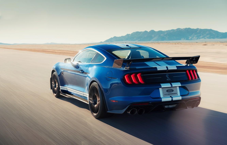 Фото обои машина, асфальт, полоски, синий, стиль, купе, скорость, фонари, Ford Mustang Shelby GT500