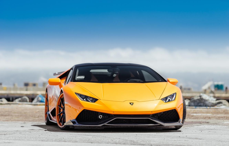 Фото обои Lamborghini, Orange, Italy, VAG, Sight, Fronte, Hyuracan