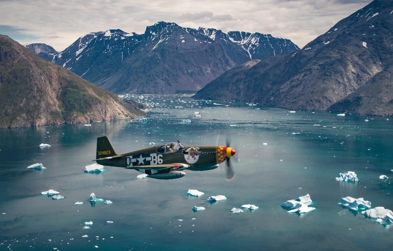 Фото обои Mustang, Океан, Истребитель, Айсберг, USAF, Вторая Мировая Война, North American P-51 Mustang, P-51B Mustang