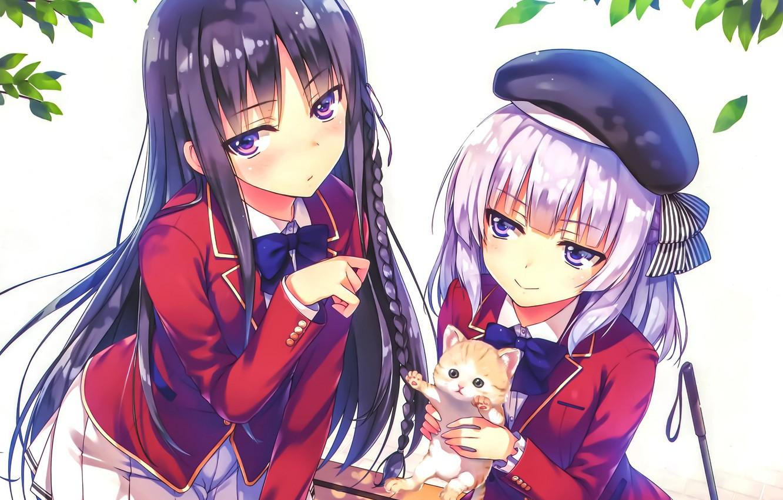 Фото обои листья, девушки, котёнок, школьная форма, Youkoso Jitsuryoku Shijou Shugi no Kyoushitsu e, Добро Пожаловать В …