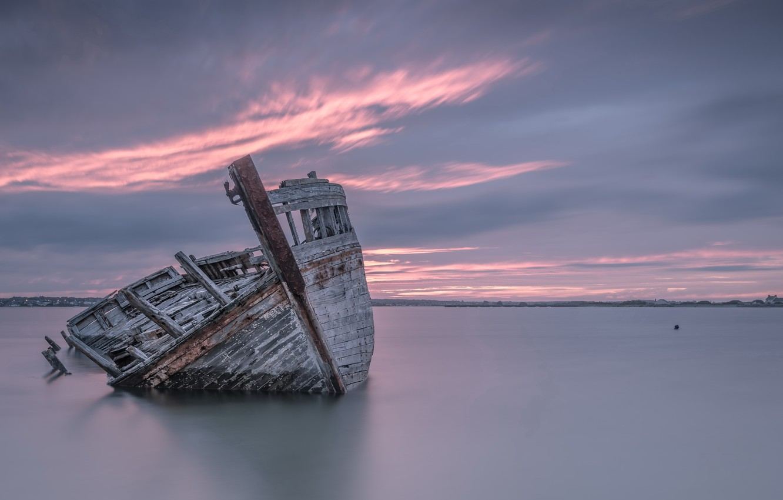 Фото обои море, закат, корабль