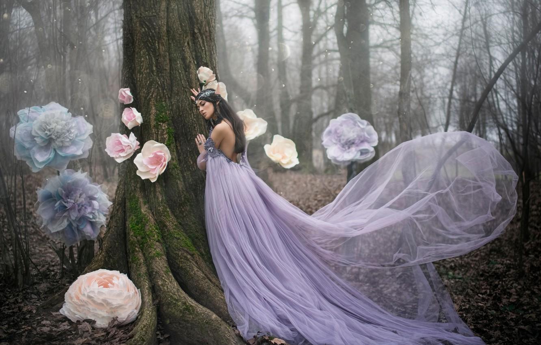 Фото обои лес, девушка, цветы, дерево, эльф, платье, фэнтези