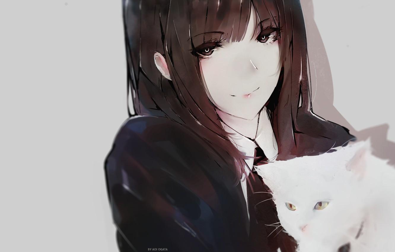 Фото обои лицо, школьница, серый фон, длинные волосы, art, челка, белый котенок, Aoi Ogata