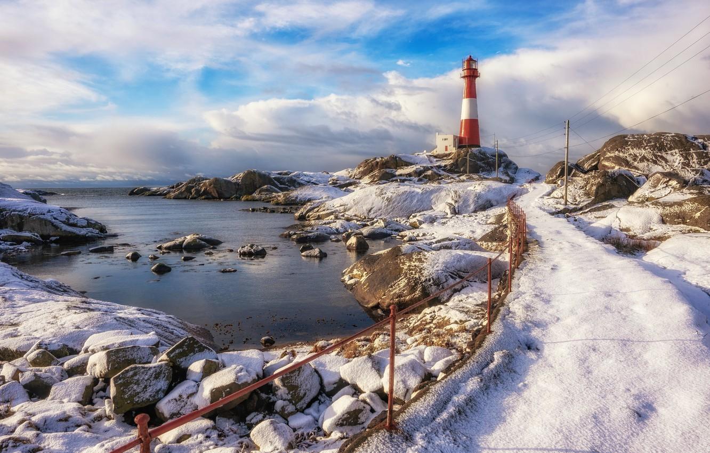 Фото обои берег, маяк, Norway, Rogaland, Midtbrød