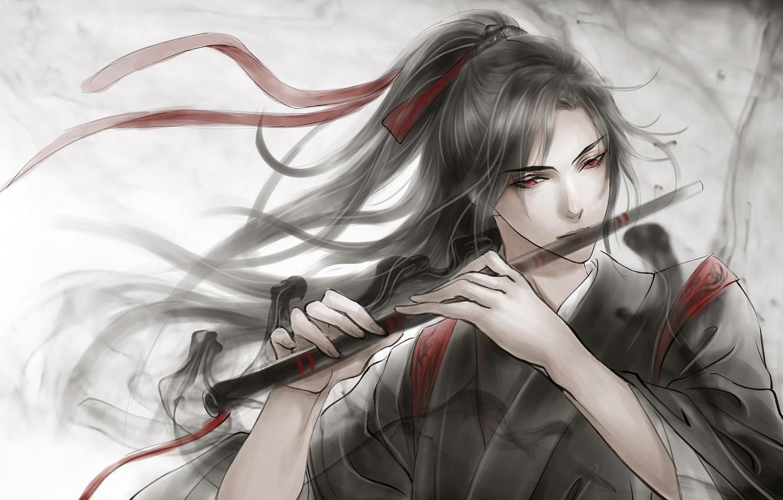 Фото обои серый фон, флейта, красные глаза, длинные волосы, красная лента, черная магия, китайская одежда, Mo Dao …