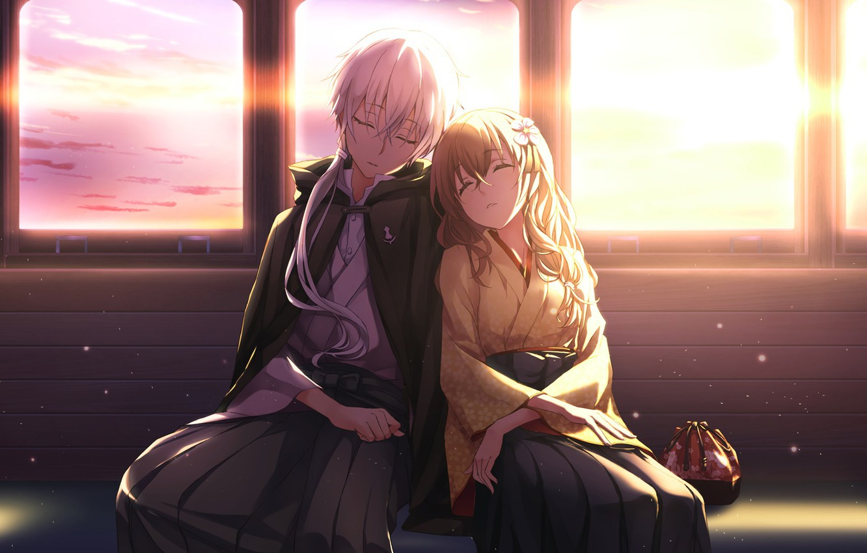 Фото обои закат, окна, аниме, арт, двое