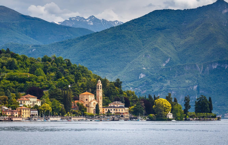 Фото обои вода, озеро, гора, Италия, Комо