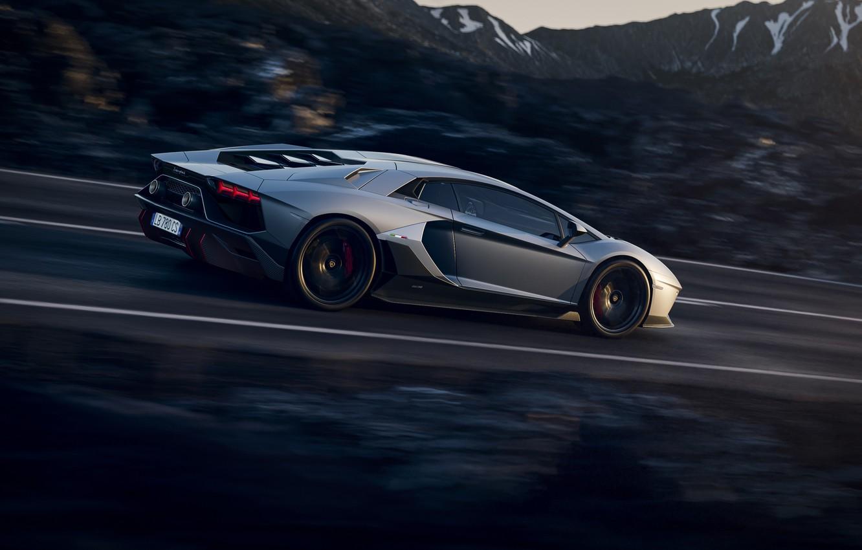 Фото обои серый, суперкар, lamborghini, supercar, road, hills, speed, aventador, ламба, high, ultimae, lp 780 4, grey …