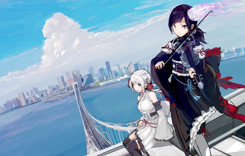 Фото обои Девушки, Мост, Город, Скрипка