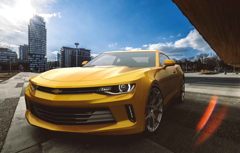 Фото обои Авто, Желтый, Chevrolet, Машина, Camaro, Camaro SS, Chevrolet Camaro, Рендеринг, Передок, Chevrolet Camaro SS, by ...