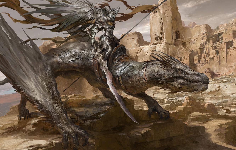Фото обои дракон, рыцарь, Russell Dongjun Lu, Desert Dragon Knight