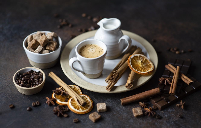 Фото обои кофе, сахар, корица