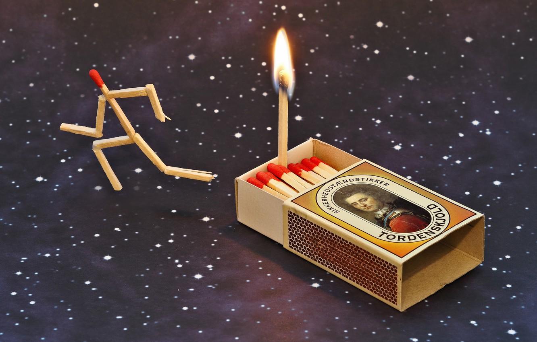 Фото обои огонь, спички, fire, побег, escape, matches, Udo Dittmann